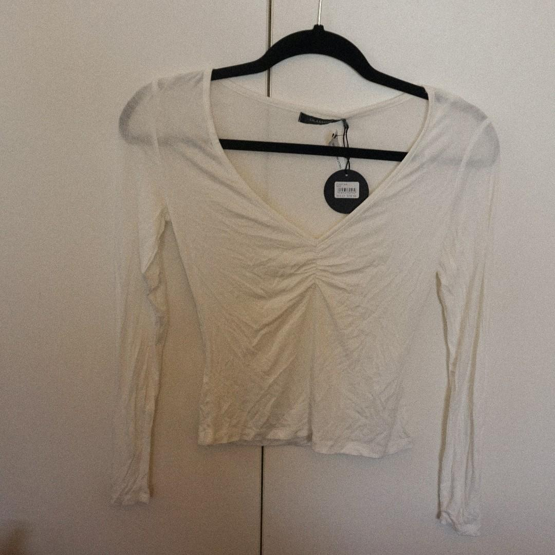 Glassons White Semi Sheer Ruched Front Long Sleeve Top