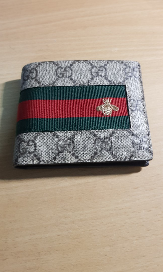837985b07dc Gucci GG Supreme Web Bee Canvas Wallet
