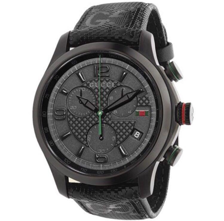 c69b630dcb3 Gucci G-Timeless Chronograph Black Dial Black Fabric Men s Watch ...