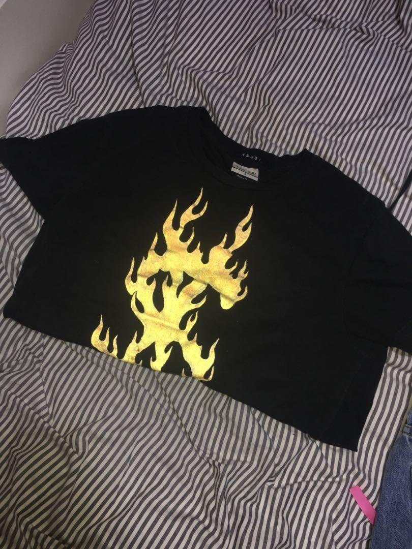 KSUBI travis scott flaming doller 3M reflective t-shirt
