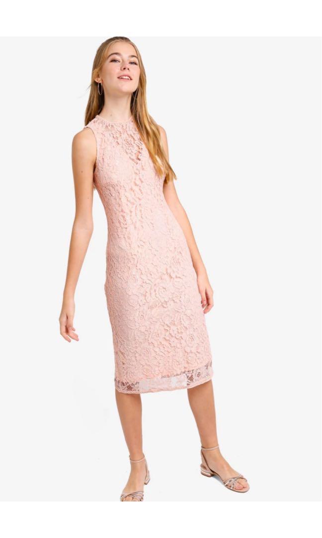 b45cac92eb Lace Yoke Bodycon Midi Dress, Women's Fashion, Clothes, Dresses ...