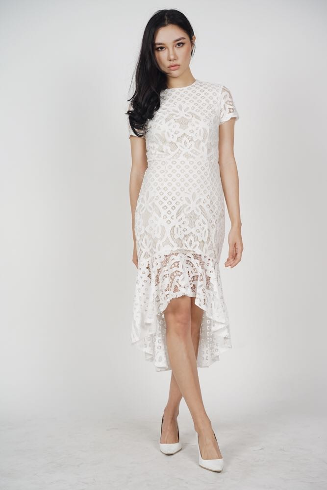 75ecd8c9a3 MDS Asymmetric Lace Dress in White