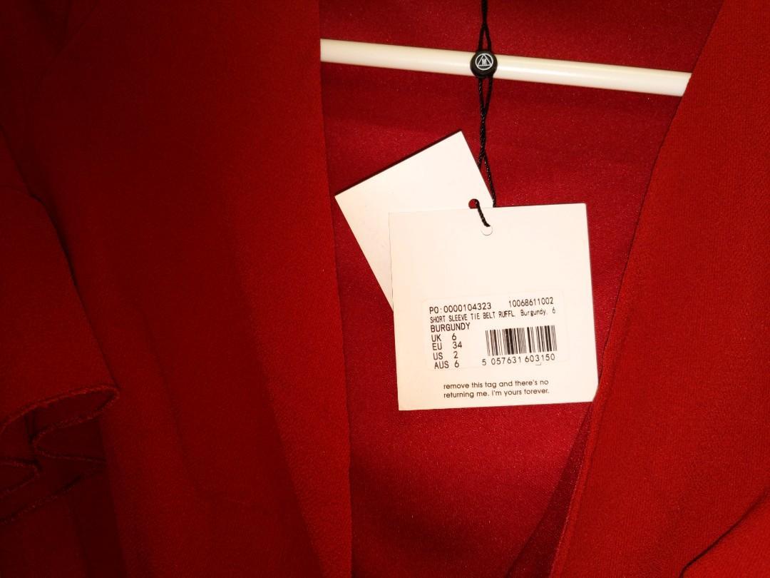 MISSGUIDED Red Burgundy Ruffle Tea Dress sz6 BRAND NEW