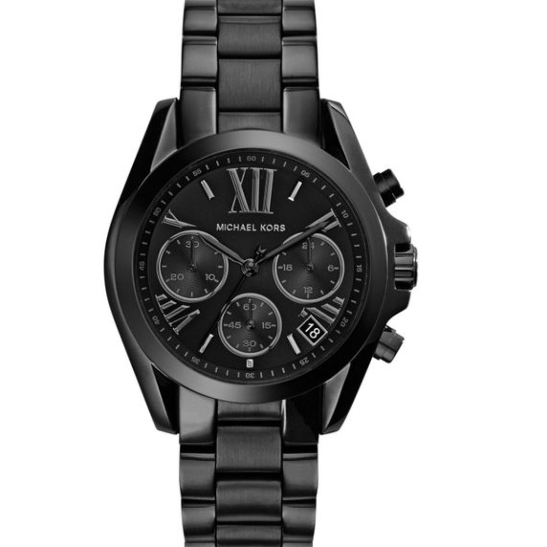 8d4659348d4d New MK Michael Kors Black Mini Bradshaw Chronograph Stainless Steel ...