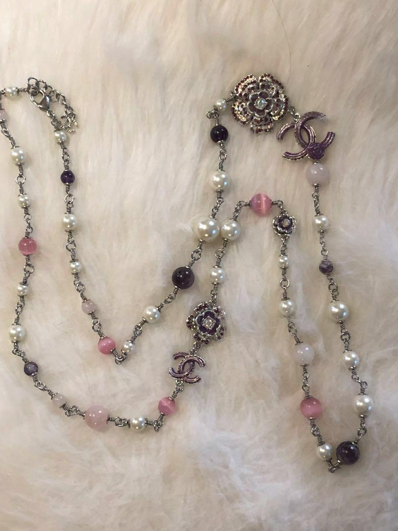 🌸🌸Pink Purple Stone Faux Pearl Long Necklace🌸🌸