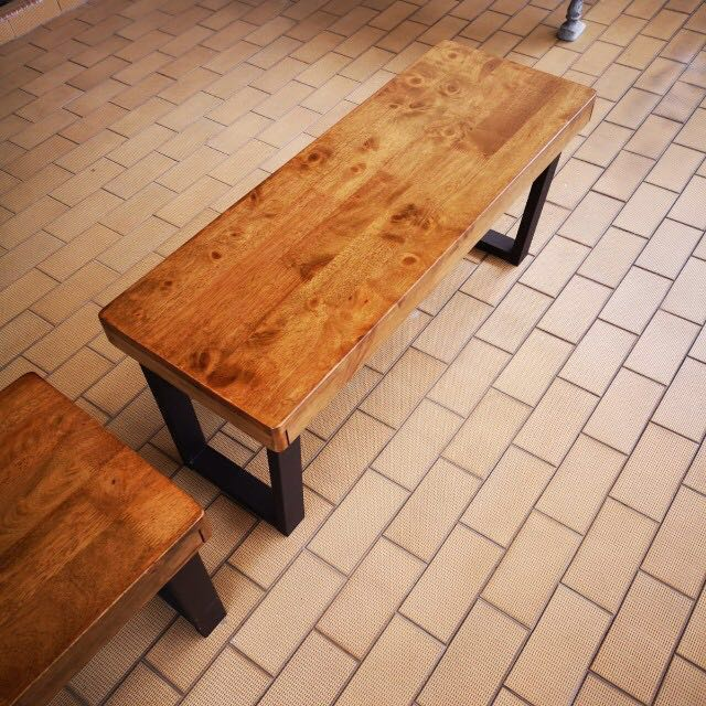 Rubber Wood Bench Bed Side Table