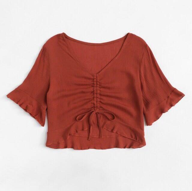 Ruched Drawstring Blouse
