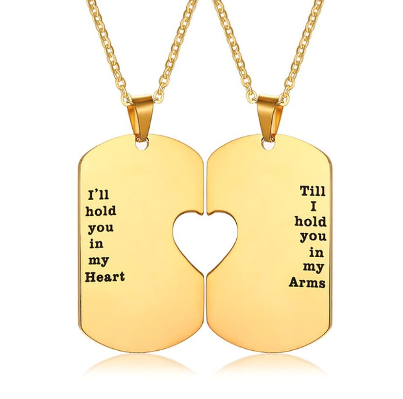 f0ca066d50 SALES]👫SILVER & GOLD HEART NECKLACE STAINLESS STEEL COUPLE ...