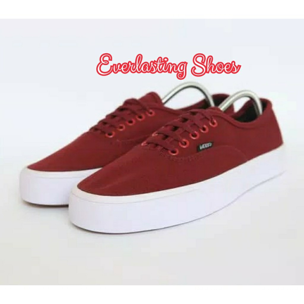 8454a740fc Sepatu Vans Authentic Mono Red Maroon Grade Ori Merah Marun Shoes ...