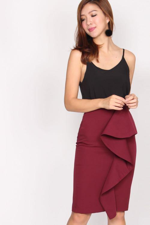 95235add13da TDC Danielle peplum skirt in wine red, Women's Fashion, Clothes, Dresses &  Skirts on Carousell