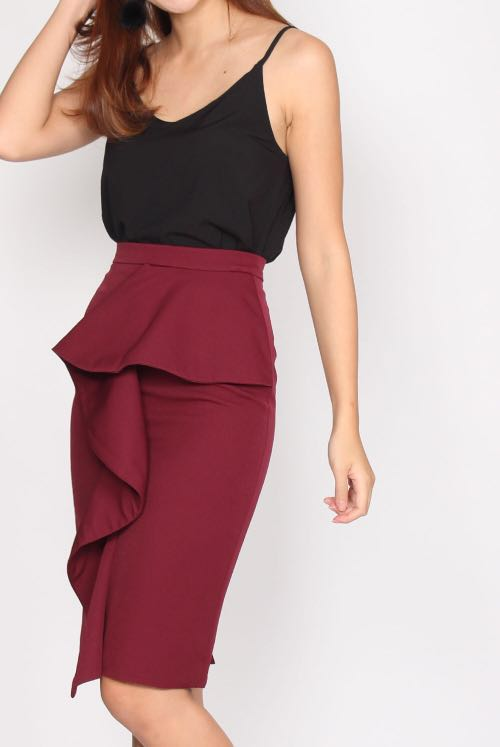 d7c0178d08ef TDC Danielle peplum skirt in wine red, Women's Fashion, Clothes ...