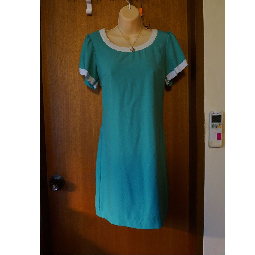569ce079382f Tiffany Turquoise Blue Fitted Dress with White Rim collar   sleeves ...