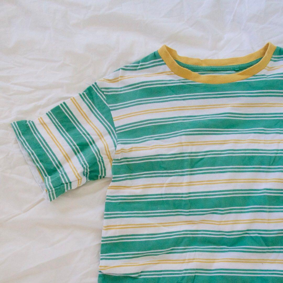 90c103c730 UNIQLO striped t-shirt green, white & yellow on Carousell