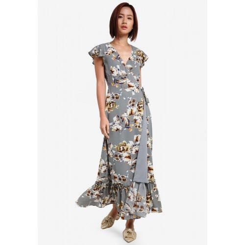 Zalora Grey Base Floral Maxi Wrap Dress 0d4ce67c5