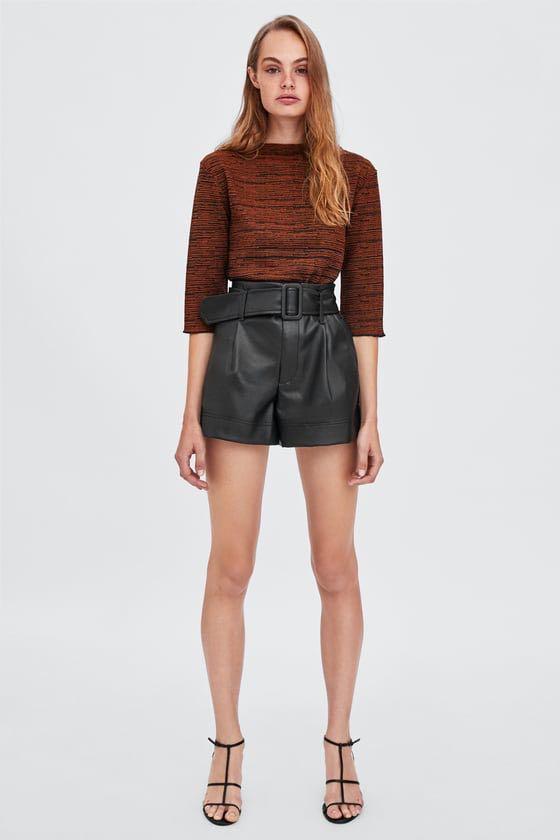 ce4cf15d Zara Faux Leather Bermuda Shorts, Women\u0027s Fashion, Clothes, Pants .