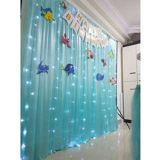 Dessert Table {Backdrop Veil Curtain_Tiffany Color} [RENTAL]
