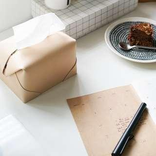 🚚 簡約純手工製作義大利進口植鞣革混搭櫸木面紙盒