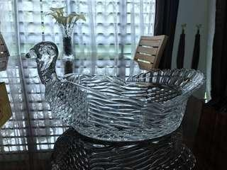 Unused Bohemian Crystal Turkey Bowl