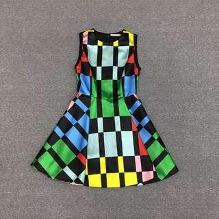 A+O撞色方塊印花高腰公主小禮裙