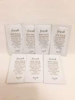 Fresh soy face cleanser 大豆卸妝潔面乳4ml x 7包, 全新, exp. date 6/2020