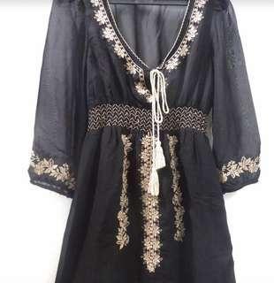 Bohemian Dress Black Chiffon