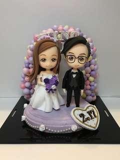 訂做結婚公仔結婚擺設訂做單人雙人畢業公仔Q版模型figure結婚禮物生日禮物展示盒