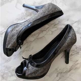 Tweed Peep Toe Stilettos