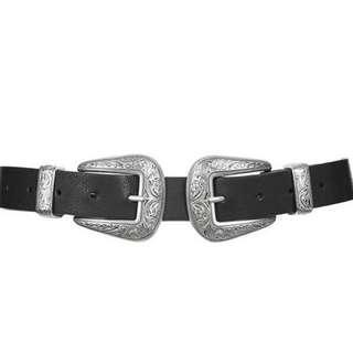 Double buckle black leather belt