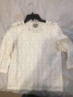 Vera moda white lace 3/4 sleeve top