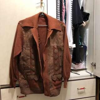 🚚 Vintage 復古懷舊針織拼接外套