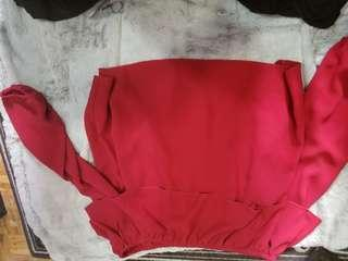 Size large over-the-shoulder red top