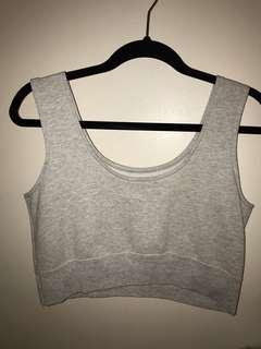 UO Grey Sweat Crop Top