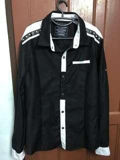 Black shirt with leather strap