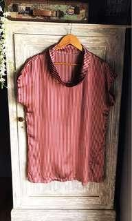 (Used) Cowl Neck Stripes Red Silk Top