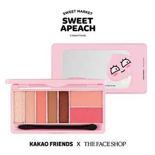 全新 韓妝 THE FACE SHOP x KAKAO FRIENDS「SWEET APEACH」限定系列 Eyeshadow Palette 眼影盤