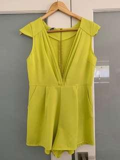 Chartreuse coloured playsuit
