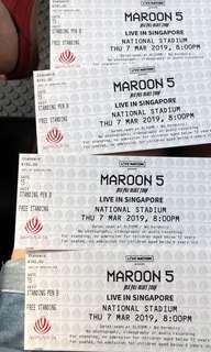 Maroon 5 concert tickets 2019. Free standing. 4 tickets available
