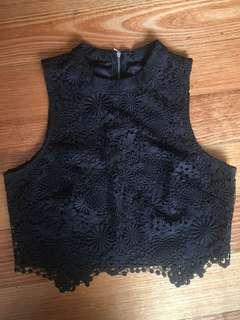 Forever new black lace sleeveless crop
