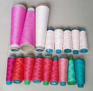 🚚 17支考克線 白色棉線 紅色QQ線 綠色彈性線 粉色車縫邊線