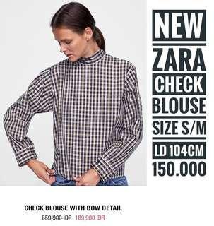 ZARA check blouse, size S-M, LD 104cm