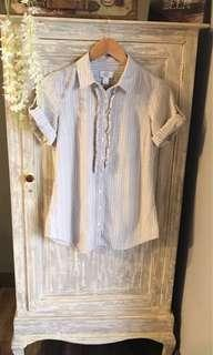 (Used) BRANDED Ann Taylor Ruffled Stripes Blouse