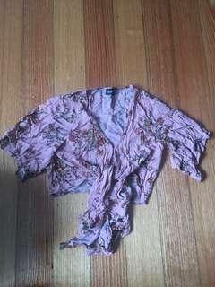 Dotti floral wrap tie top