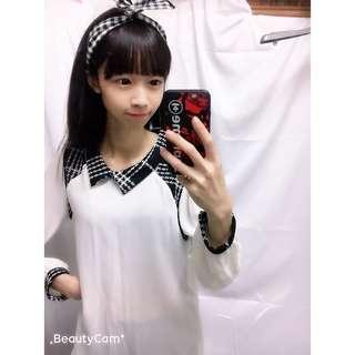 🚚 ❤️二手便宜賣❤️韓版雪紡格子領上衣⭐️氣質款 長袖上衣 雪紡長袖上衣 二手上衣 女裝