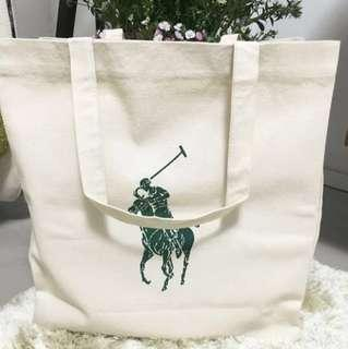 (BN) Ralph Lauren Large Pony Organic Cotton Tote