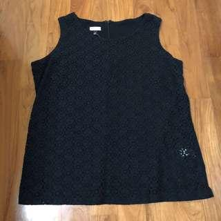 🚚 BN black lace OL eyelet sleeveless blouse top