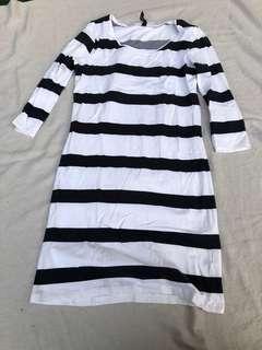 Pencil dress navy stripe sailor style