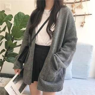 Korean Style Grey Knitted Cardigan