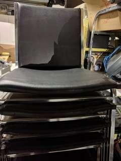 Black leather chrome and foam chairs