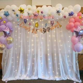 Balloon garlands package includes backdrop set