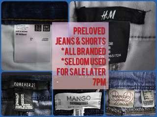 denim pants and shorts